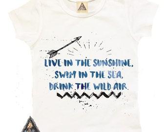 DRINK the WILD AIR boho hippie tribal kids shirt / Emerson hippie shirt / free spirit shirt / sunshine shirt / American Apparel