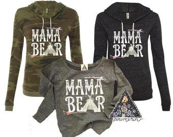 MAMA BEAR Slouchy SWEATSHIRT Gray Triblend Off the Shoulder /Mama Bear Momma Bear Teepee Arrow / Slouchy Mama Sweatshirt