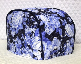 Blue Floral Quilted 2 Slice Toaster Cover