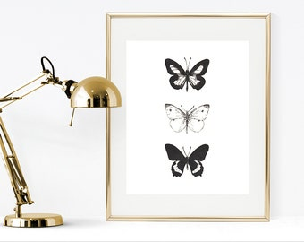 Printable butterflies art print, black and white instant download print, watercolor butterfly wall art, black & white home decor,