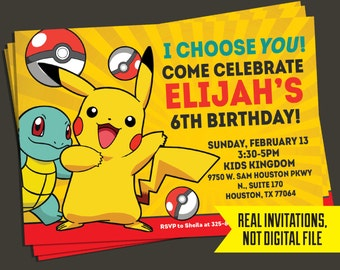 Pokemon Invitation - Pokemon Birthday Invitation