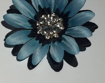 Black and Blue Flower Hair clip