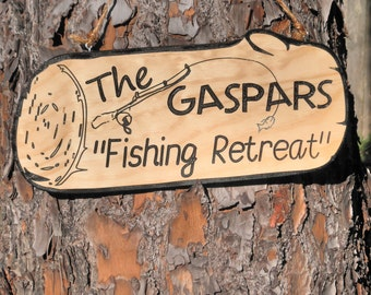 Fishing retreat Camping signs Personalized retreat signs Name fishing retreat Family carved fishing Bar retreat customized Wood camping sign
