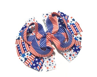 4th of July Hair Bow, 4th of July Bow, 4th of July Hairbow, Independence Hairbow, Patriotic Hair bow