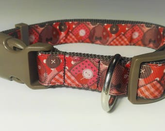 Adjustable Hearts Dog Collar - Brown