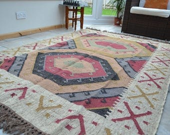 Flat Kilim Rug Geometric Handmade Hexagon Jute Wool 120x180cm 4x6ft