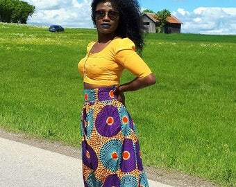 African Tribal multicolor Maxi skirt.