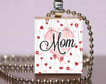Mom Scrabble Tile Jewelry. Mothers Day Necklace.  Mom Charm Bracelet.  Mother Key Ring. Gift for Mom. Mother in Law Gift.  #201