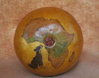 Black Basenji round cremation gourd Africa urn.
