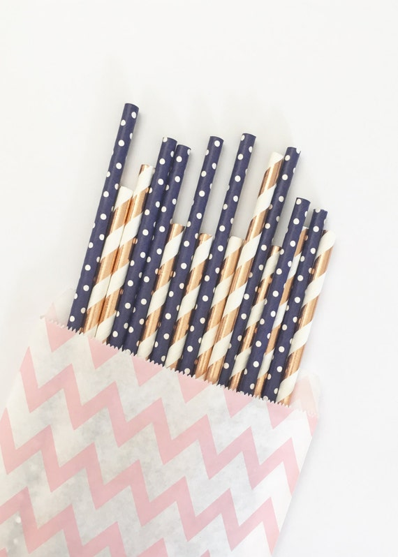 Rose Gold+Navy Blue straw mix//straws, paper straws, party decorations, party supplies, birthday party, wedding shower, baby shower, party