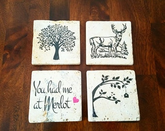 Ready to Ship Coasters - Rustic Country Natural Stone Coasters - Deer Coasters - Bird Coasters