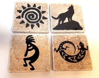 Southwest coasters, travertine coasters, southwestern gifts, southwest decor, drink coasters, stone coasters, native american gifts