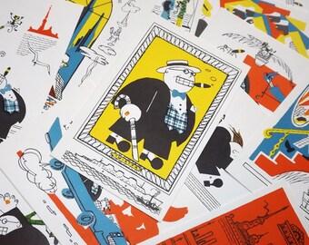 Soviet cartoon postcard set - Soviet caricature postcards - Marshak poem illustration postcards - Anti racism post cards - Art postcards
