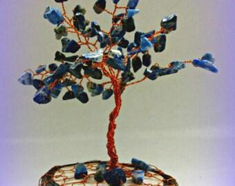 Tree of life, lapis lazuli, minerals, miniature tree, blue, mini wire tree of life, tree of happiness, tree of minerals, bonsai