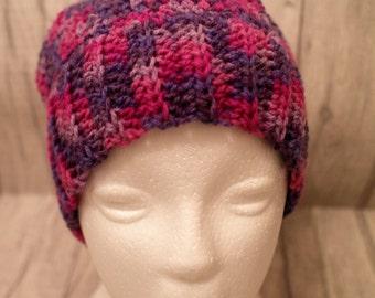Ponytail, messy bun hat, crochet, joggers hat, pinks & purples