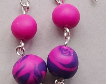 Pink and Purple Polymer Clay Earrings