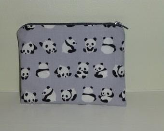 Panda Bear Coin Purse, Panda Bear Make Up Bag, Bear Coin Purse, Panda Coin Purse, Panda Make Up Bag, Rustic Purse, Gift for Panda lovers,