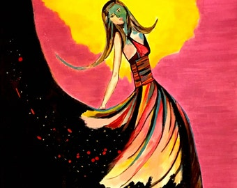 "Canvas Print of Original Acrylic Painting ""DreamGirl"""