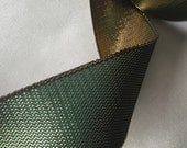 Vintage Metallic Ribbon, Vintage Green Ribbon, Vintage Gold Ribbon, Double Face Ribbon, Vintage French Ribbon
