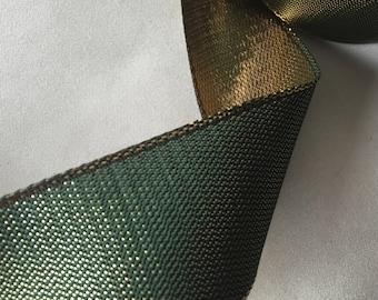Vintage Metallic Ribbon, Vintage Green Ribbon, Vintage Gold Ribbon, Double Face Ribbon, Vintage French Ribbon