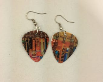 Recycled 54th Street gift card guitar pick earrings