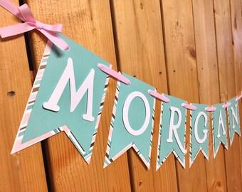 custom mint and pink custom name banner, banner, birthday banner, happy birthday banner, girl birthday, girl birthday banner, first birthday