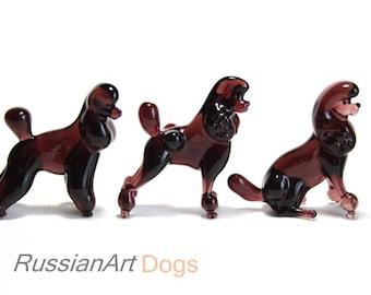 Poodle (set - 3 pcs)  figurine dog  style of Murano glass, statue