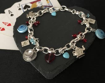 Alice bracelet, Wonderland Charm bracelet, Fairytale bracelet, Alice's adventures in Wonderland jewellery