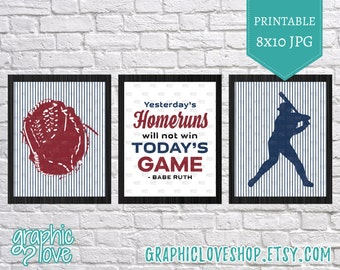 Printable Babe Ruth Baseball Quote Wall Art, Set of 3 | 8x10 JPG Files, Instant Download