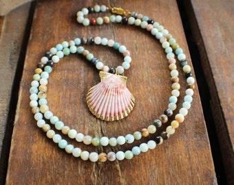 Seashell Gemstone Beaded Necklace, Gold Leafed Sea Shell Amazonite Necklace, Mermaid Necklace