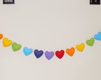 Nursery garland - rainbow heart garland - nursery decor - baby shower garland - rainbow garland