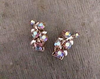 Diamante earrings, clip on earrings, rhinestone earrings, aurora borelis, vintage earrings, teal, green, purple, 1950's earrings