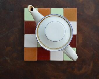 Ceramic trivet, trivet made of tiles, handmade trivet, pottery trivet for table decoration