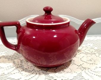 Burgundy Hull Vintage Teapot With Lid