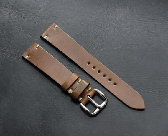 Custom 19/16mm Horween Shell Cordovan watch band - simple stitching