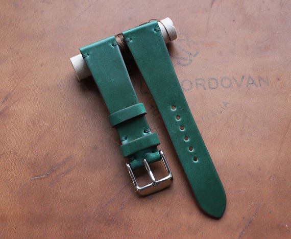 20/16mm Green Tuscany Shell Cordovan watch band - simple stitching