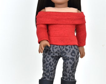 Long Sleeve Off The Shoulder Sweater 18 inch doll clothes COLOR RED