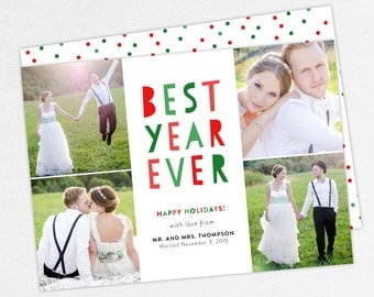 Best Year Ever Christmas Cards, Newlywed Christmas Cards, Newlywed Holiday Cards, Wedding Thank You Cards, Christmas Thank You Cards, DIY