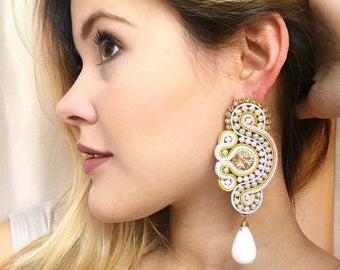 Soutache earrings - chandelier earrings - bridal jewelry - bridesmaids filigree earrings - elegant long earrings - soutache braid jewelry