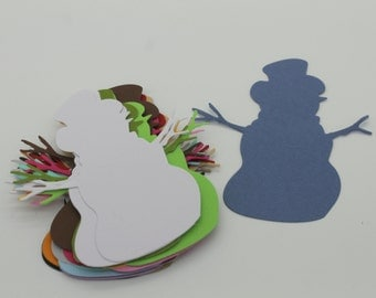 Snowman Christmas: set of die - cut cut-outs
