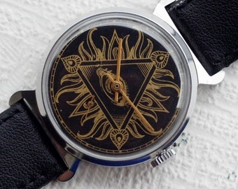 "Pobeda ""MASONIC SYMBOLS"" Mechanical Men's Wristwatch Made in USSR"