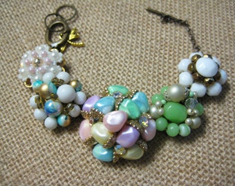 Vintage Earring Bracelet, Repurposed Vintage Earrings, Vintage Wedding, Bridesmaid Bride, Upcycled Reclaimed, one of a kind OOAK /5