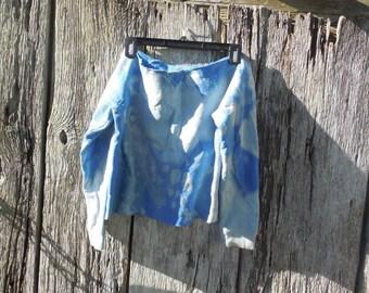 One of a kind custom bleached cut off Blue off shoulder crop top sweatshirt sky blue medium belly shirt post apocalyptic raver street wear