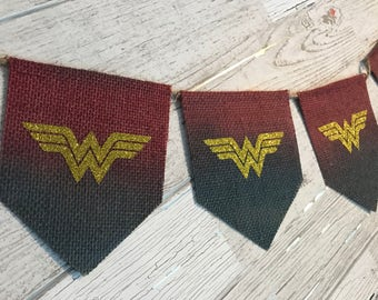Wonder Woman burlap banner