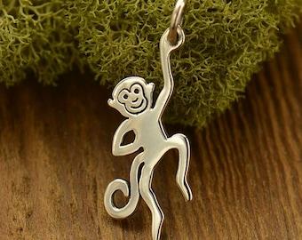 Sterling Silver, Monkey Charm, Monkey Pendant, Monkey Jewelry, Silver Monkey Charm, Silver Monkey, Silver Monkey Jewelry, Animal Charm