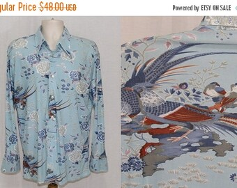 On Sale Vintage 70s Blue FLORAL Bird Pheasant DISCO Club Pimp Leisure Retro Shirt XL
