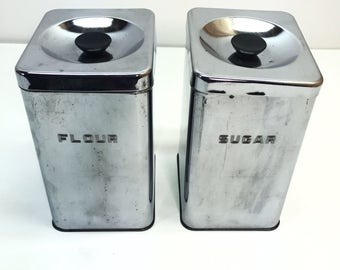 Vintage Kitchen Canister Set Chrome Sugar and Flour Storage Tins by Duro of Hamilton Canada