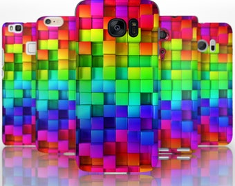 BG0097 Plastic hard case print, personalized/ custom/ personalised phone protective case multicoloured blocks