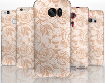 BG0174 Plastic hard case print, personalized/ custom/ personalised phone protective case brown flower pattern
