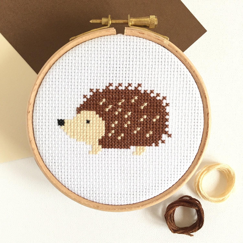 Easy cross stitch kit hedgehog for beginners modern